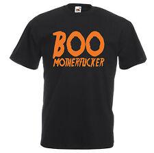 BOO MOTHERFUCKER T-SHIRT - FUNNY JOKE RUDE HALLOWEEN HORROR ORANGE BLACK NEW