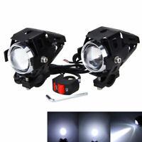 2x U5 125W Motorcycle Bike LED Headlight Driving Fog Spot Light Lamp w/ Switch