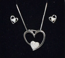 Complete Woman Hearts Necklace + silver earrings with zircons