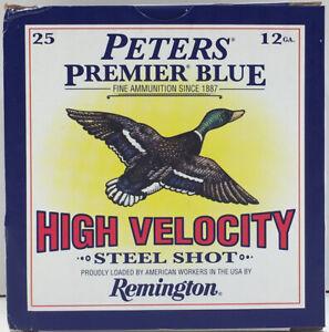 EMPTY Peters 12 Gauge Premier Blue High Velocity Steel 2 Shot Shotgun Shell Box