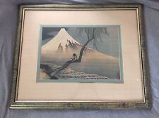 "HOKUSAI Boy Viewing Mt. Fuji Print.  Beautifully Framed 33&1/2"" By 27&1/2"""