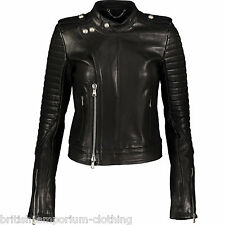 DIESEL BLACK GOLD Black Lamb Leather LANAVY Biker Jacket BNWT IT44 UK12