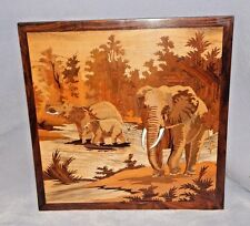 Wall Art Picture - Separate Wooden Pieces Delicately Stained, UNIQUE - Elephant