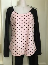 BETSEY JOHNSON Black/pink Polka Dot Soft Fleece Raglan Sleeve PJ Set Sz Med NWT
