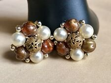 Vintage Lisner Gold Tone Metal Amber & Brass Bead Faux Pearl Clip-On Earrings