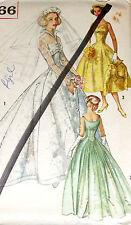Vtg 1950s Pattern Simplicity 2066 Wedding Bridesmaids Evening Dress Uncut Sz 12