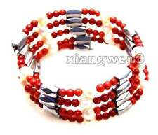 3-4mm Red Coral and White Pearl & White Hematite Magnetic 29''  Bracelet-6060