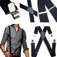 Mens Fashion Black Leather Braces X-Back Adjustable Clip-on Elastic Suspenders