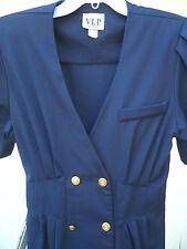 Vtg Usa M L P Blue Nautical Look Secretary Stewardess Deep V Neck Dress Women