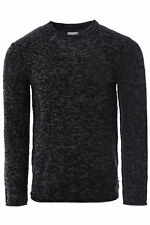 Mens New Ripped Sweatshirt Sweater Knitted Fleece Crew Neck Pullover Jumper