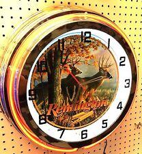 "18"" REMINGTON Hunting Rifles Sign Double Neon Clock"