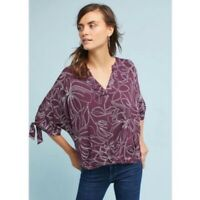 Akemi + Kin Anthropologie Burgundy Plum Tie Sleeve Dolman Floral Top Blouse XS