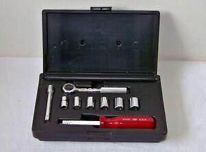 "Vtg S-K Tools 1/4"" Drive Metric Socket Set  w/Ratchet, Spinner Handle & Case USA"