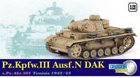 Dragon 60601 - 1/72 WWII Deutscher Pzkpfw III Ausf. N Dak - S.Pz.Abt.501 - Neu