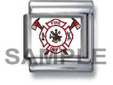 FIREFIGHTER EMBLEM 9MM ITALIAN CHARM LINK fireman logo fire department dept