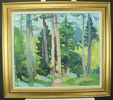 Nis stougaard (1906-1987) NIS stougård-fichtenwald au printemps-Huile sur toile