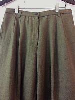 New LIZ CLAIBORNE Lizsport 12P Women's Green Brown Silk Blend Pants Career Tweed