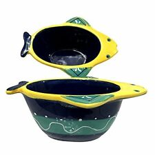 G for Gift Fish Dishes Dip Serving Ceramic Bowls Blue Green Yellow Set of 2