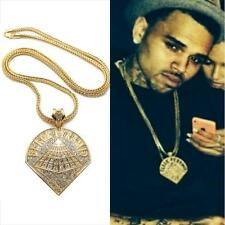 ICED OUT BLACK PYRAMID CHRIS BROWN PENDANT CHAIN NECKLACE 14K GOLD GP HIP HOP