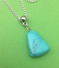 Dyed Howlite Gemstone Elegant Drop Pendant Necklace Turquoise - Aussie Seller!