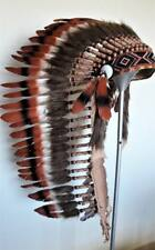 Z40 Extra large three colors brown Feather Headdress 43 inch long Native America