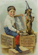 Scott's Emulsion Young Artist Boy & Silly Dog Wearing Hat & Holding Bottle F89