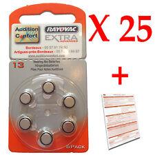 25 plaquettes de 6 piles 13 d'appareil auditif RAYOVAC pour appareils auditifs