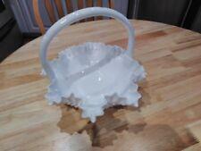 fenton milk glass hobnail ruffled wedding basket
