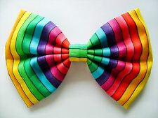 NEW FABRIC HAIR BOW W/ Alligator Clip * Rainbow * Handmade* FREE SHIPPING ******