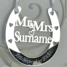 Personalised Wedding Mr & Mrs Good Luck Horseshoe Bridal Gift and lucky Keepsake