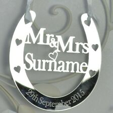 Personalised Wedding Horseshoe Mr & Mrs Bridal Gifts Good Luck Lucky Keepsake