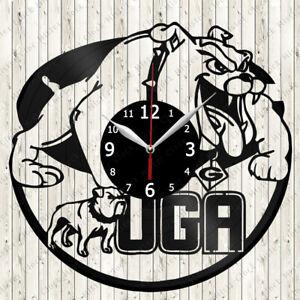 Georgia Bulldogs UGA Vinyl Record Wall Clock Decor Handmade 6324