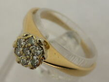 9ct Solid Yellow Gold & Diamond Dress Flower Cluster Ring size L