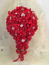 Bridal teardrop/shower bouquet in Red with Brooches