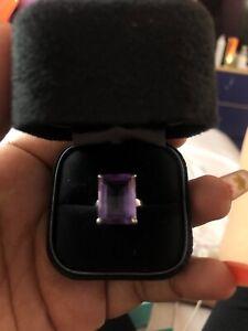 tiffany co amethyst ring 8.5 carat emerald cut