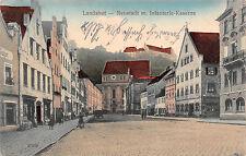 Landshut - Neustadt mit Infanterie Kaserne Strasse, Geschäfte Postkarte 1913
