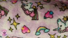 Whisper Fleece Unicorn Pink Polyester Printed Fleece Fabric