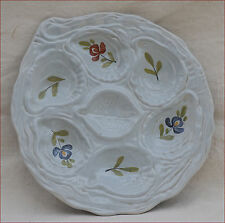 Vintage French Oyster Plate G Fourmaintraux Desvres Hand Painted Faience 1960
