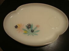 Pot Leaf Rolling Milk Glass Atomic Flowers Snack Tray Vintage