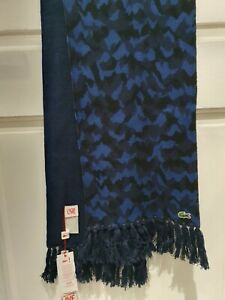 New Mens Lacoste Live Scarf Navy Blue Marine Jazz Cotton Wool Fringed Tassled
