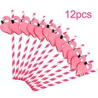 12PCS Paper  Birthday Party Funny Flamingo Honeycomb Striped Drinking Straws  S