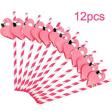 12PCS Paper Birthday Party Funny Flamingo Honeycomb Striped Drinking Straws FO
