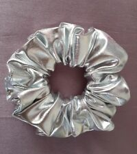 Shiny Metallic Silver Hair Scrunchie (Other colours available)
