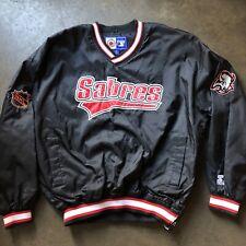 Men's Vintage 90s Starter Buffalo Sabers Black Pullover Windbreaker Jacket Sz XL