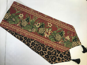 """""""ESCAPE TO PARADISE"""" Tropical 13x72 Tapestry Table Runner Reversible S A Maxwell"""