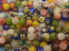 Handmade Millefiori Glass Beads, Single Flower, Round, Mixed Color, 6mm - Qty 20