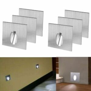 6x 1w LED Recessed Light Porch Pathway Step Stair Wall Lamp Bulb Kits Cool White