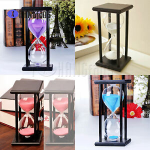 30Min Wooden Hourglass Timer Clock Decor Unique Birthday Gift ATF