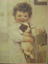 """Bessie Pease Gutmann Calendar Art Print Little Child Holding Puppy Dog """"Smiles"""""""