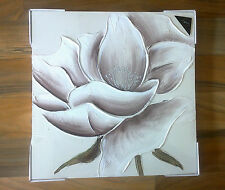 NEW CREAM BROWN WHITE GLITTER FLOWER FLORAL CANVAS WALL ART PICTURE HAND PAINTED